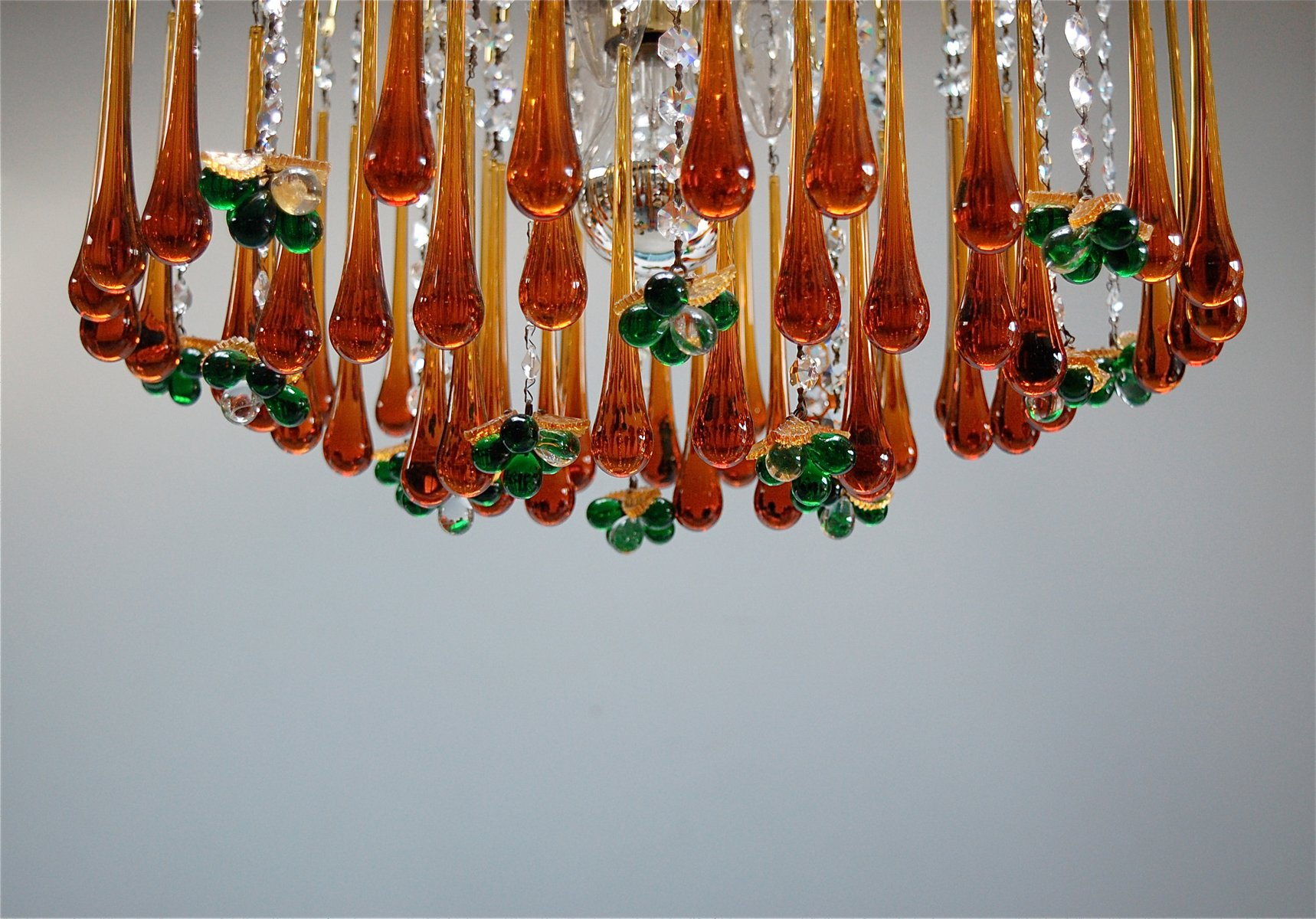 Vintage Teardrop And Fruit Murano Glass Chandelier For