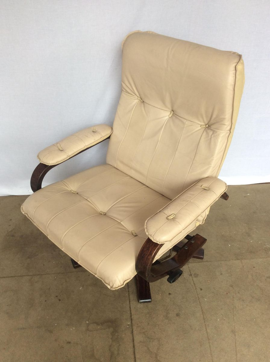 Danish leather teak reclining swivel lounge chair from for Swivel club chair leather