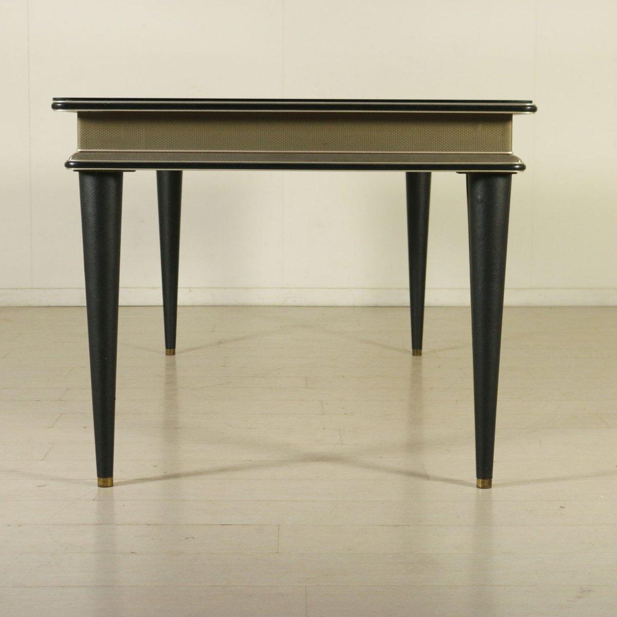 tisch aus skai glas messing von umberto mascagni. Black Bedroom Furniture Sets. Home Design Ideas