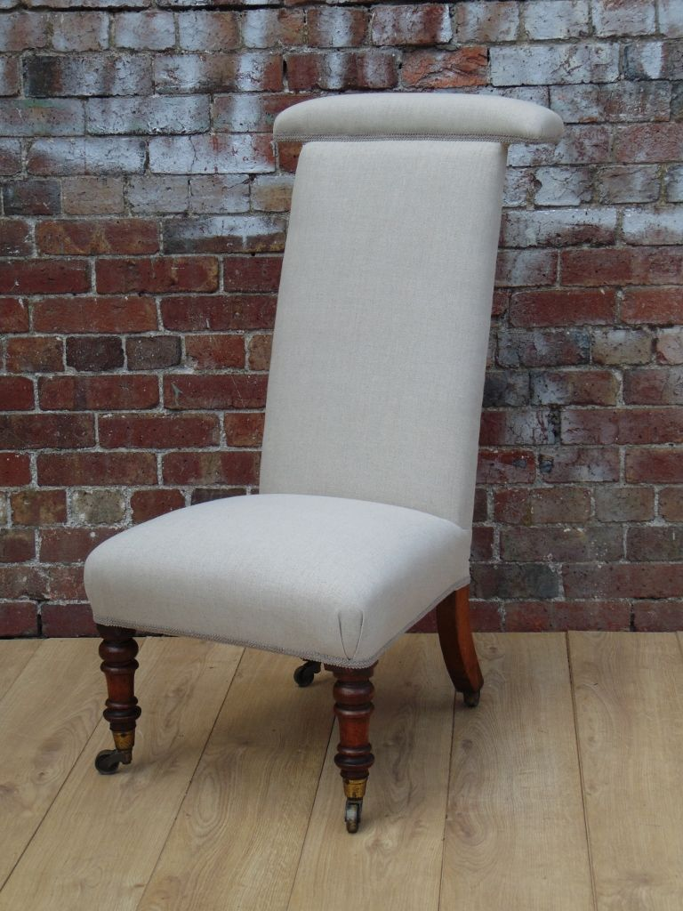 - Antique Prayer Chair In Linen For Sale At Pamono
