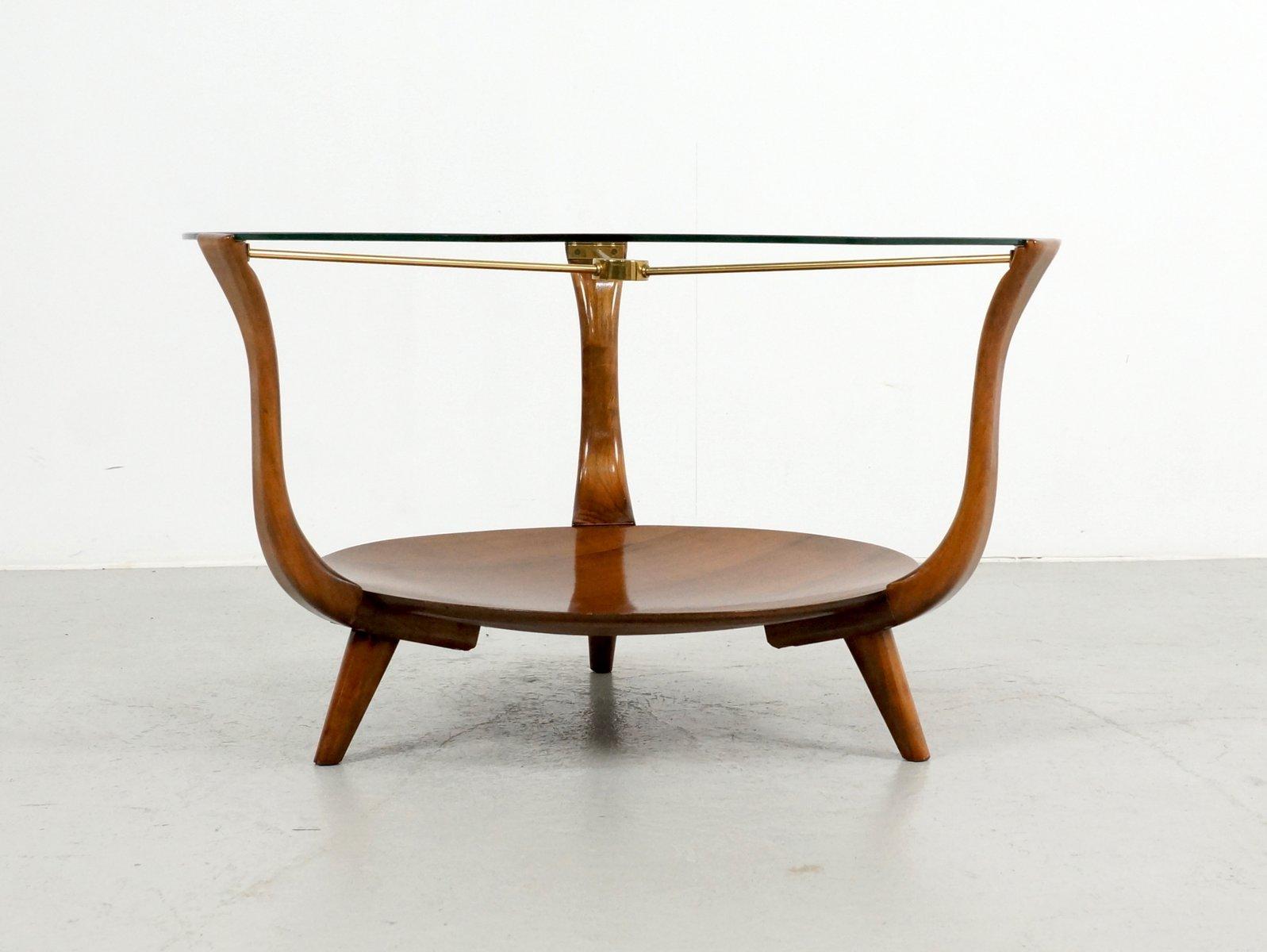 Table Basse Ronde En Noyer Laiton Et Verre Italie 1950s En Vente Sur Pamono
