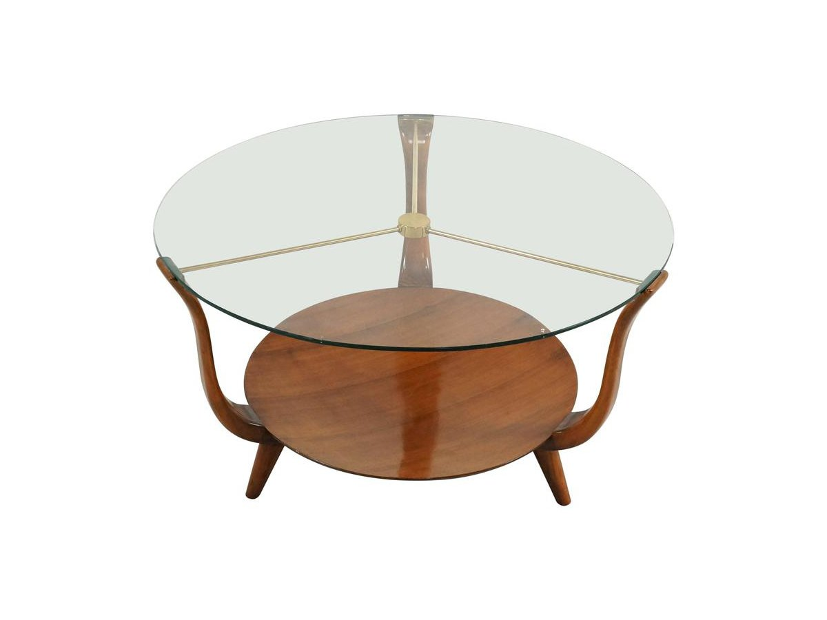 Italian round coffee table in walnut brass and glass - Table basse verre ronde ...