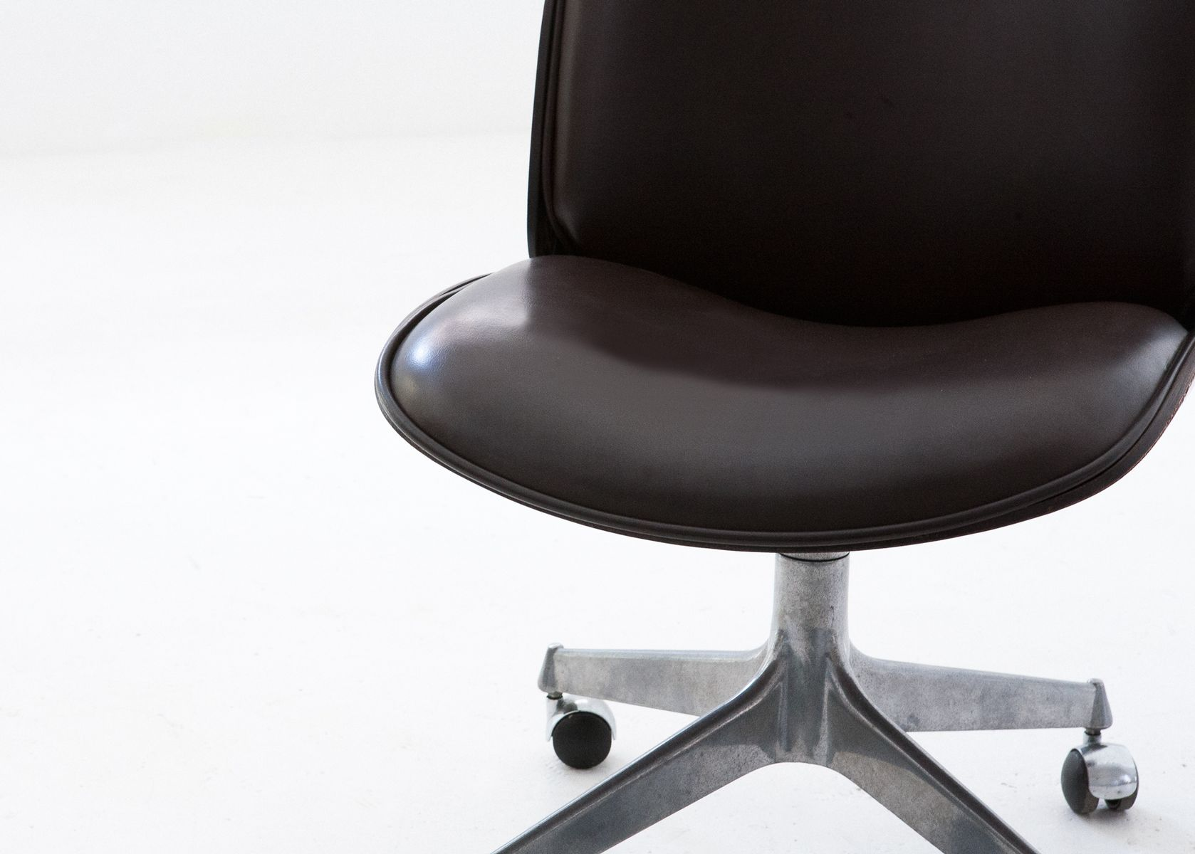Rosewood & Dark Brown Leather Swivel Chair by Ico Parisi for MiM