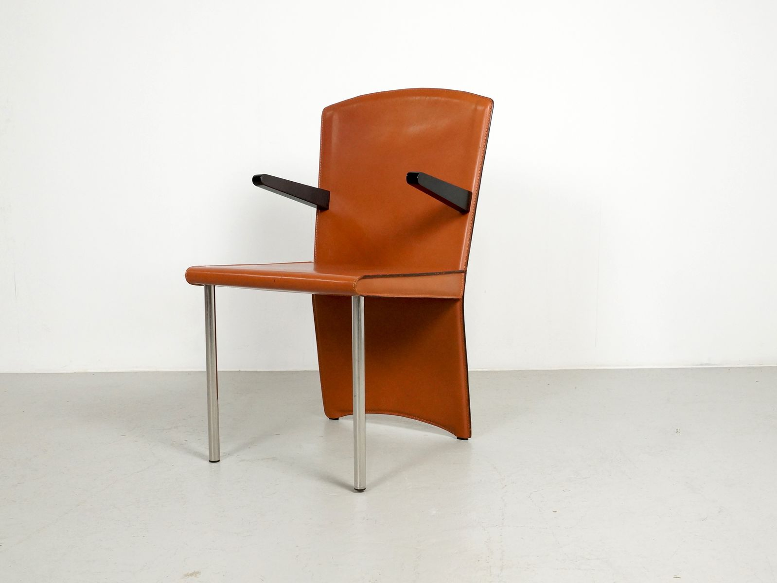 Vintage Cognac Leather Dining Chair By Andrea Branzi For