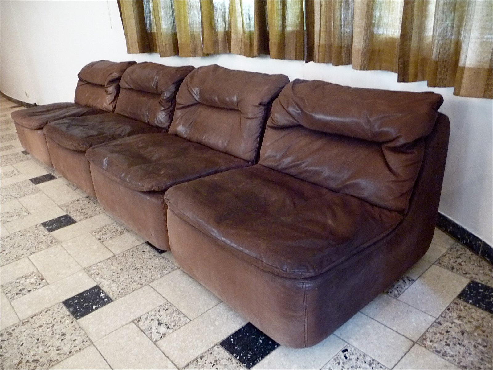 Curved Sectional Corner Leather Sofa By Friedrich Hill For Walter Knoll 1970s For Sale At Pamono