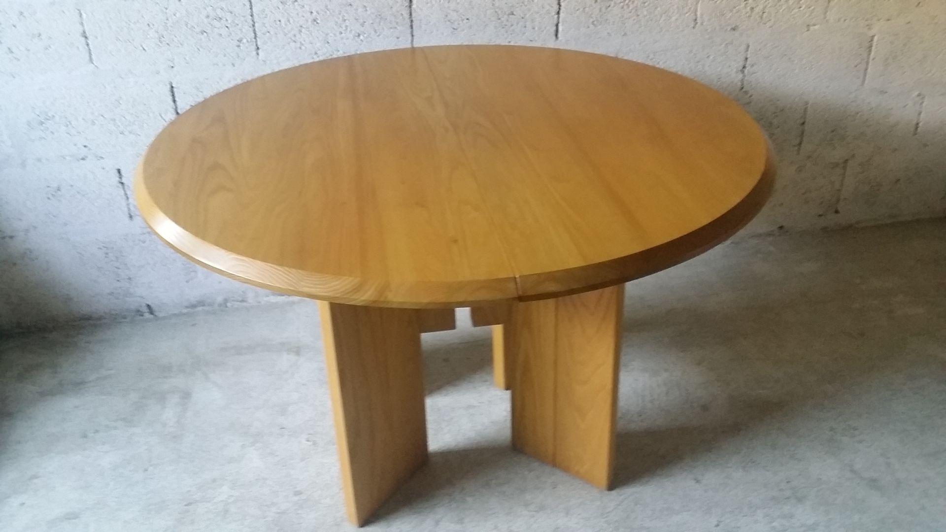 ausziehbarer esstisch aus ulmenholz von regain 1980er bei pamono kaufen. Black Bedroom Furniture Sets. Home Design Ideas