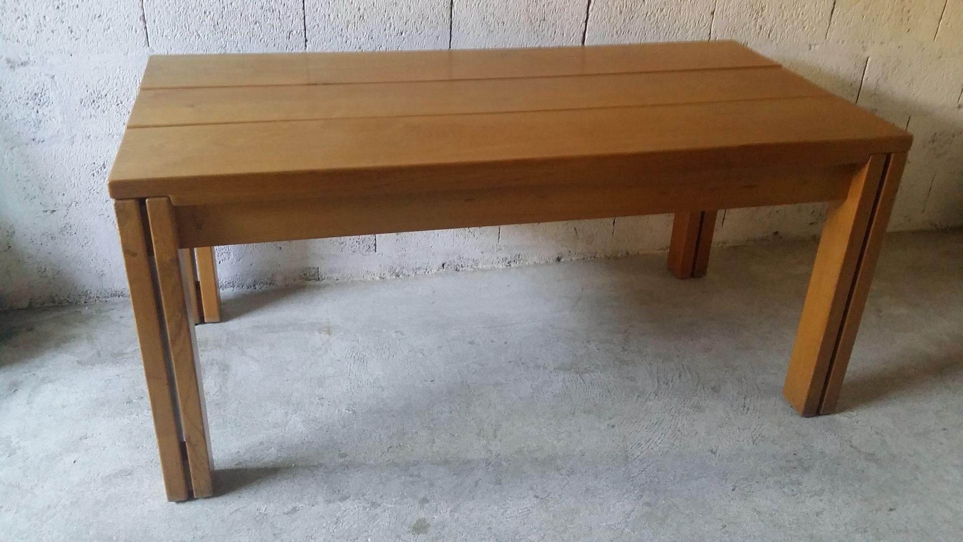 esstisch aus ulmenholz von regain 1980er bei pamono kaufen. Black Bedroom Furniture Sets. Home Design Ideas