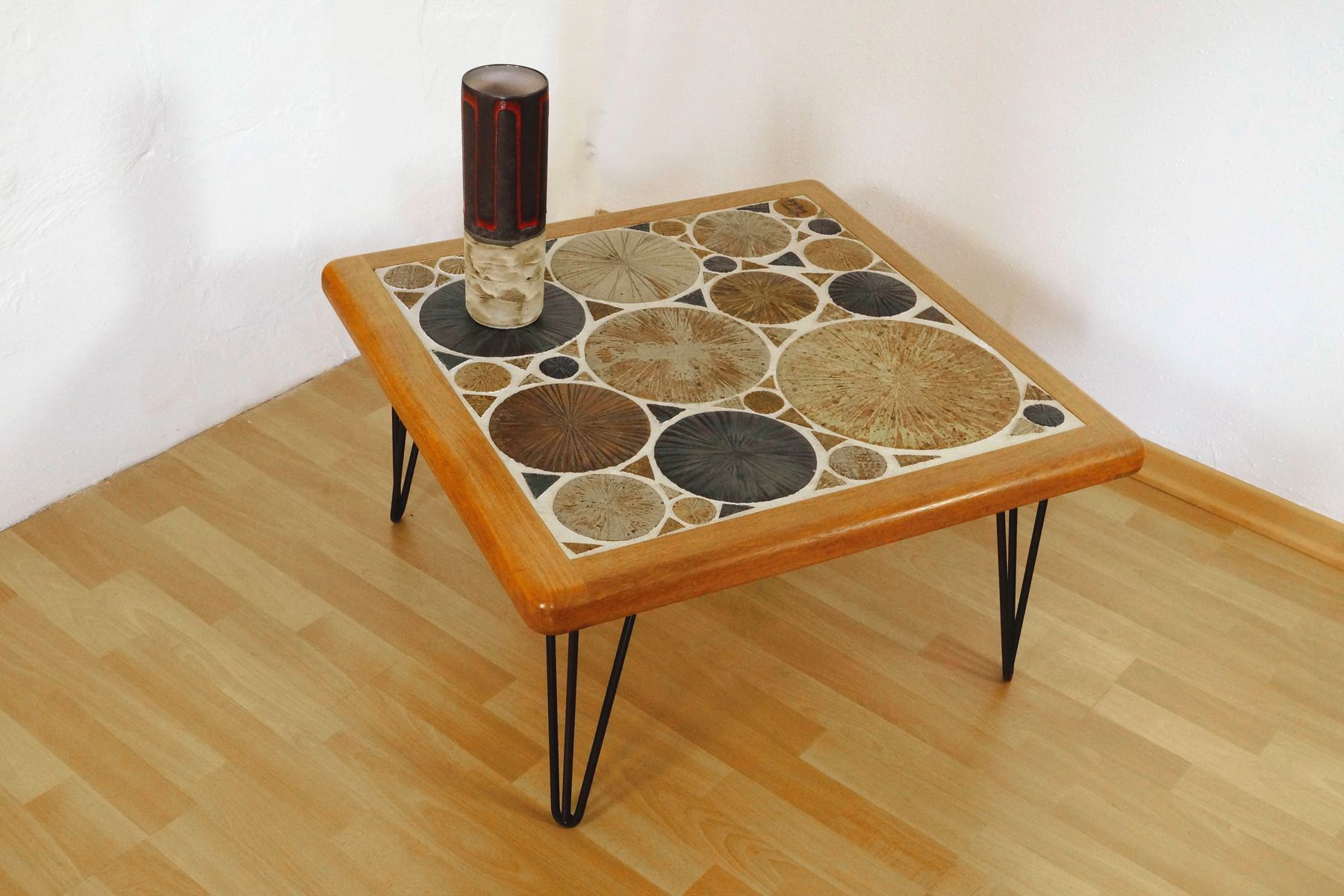 Mid Century Teak Coffee Table With Hairpin Legs By Tue Poulsen For Haslev For Sale At Pamono