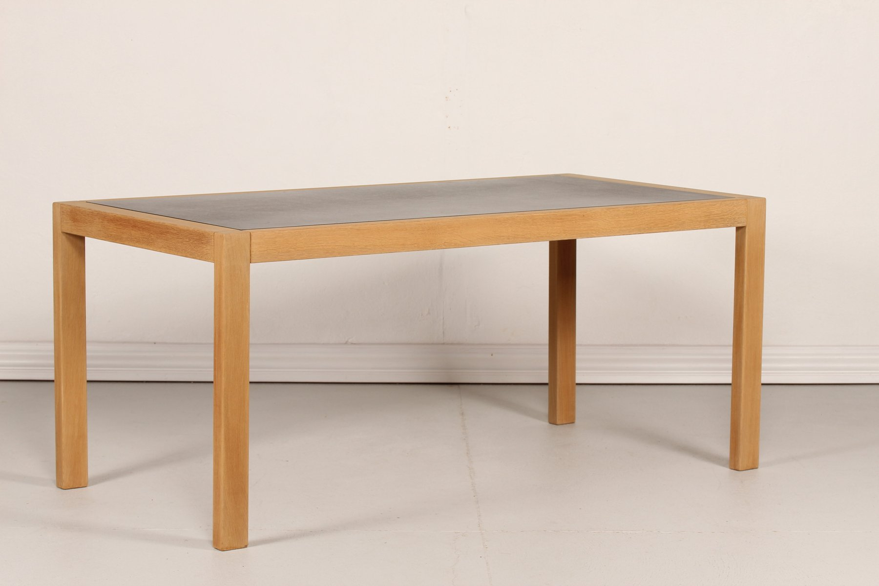 Danish oak working table with black linoleum top 1970s for Table width not working