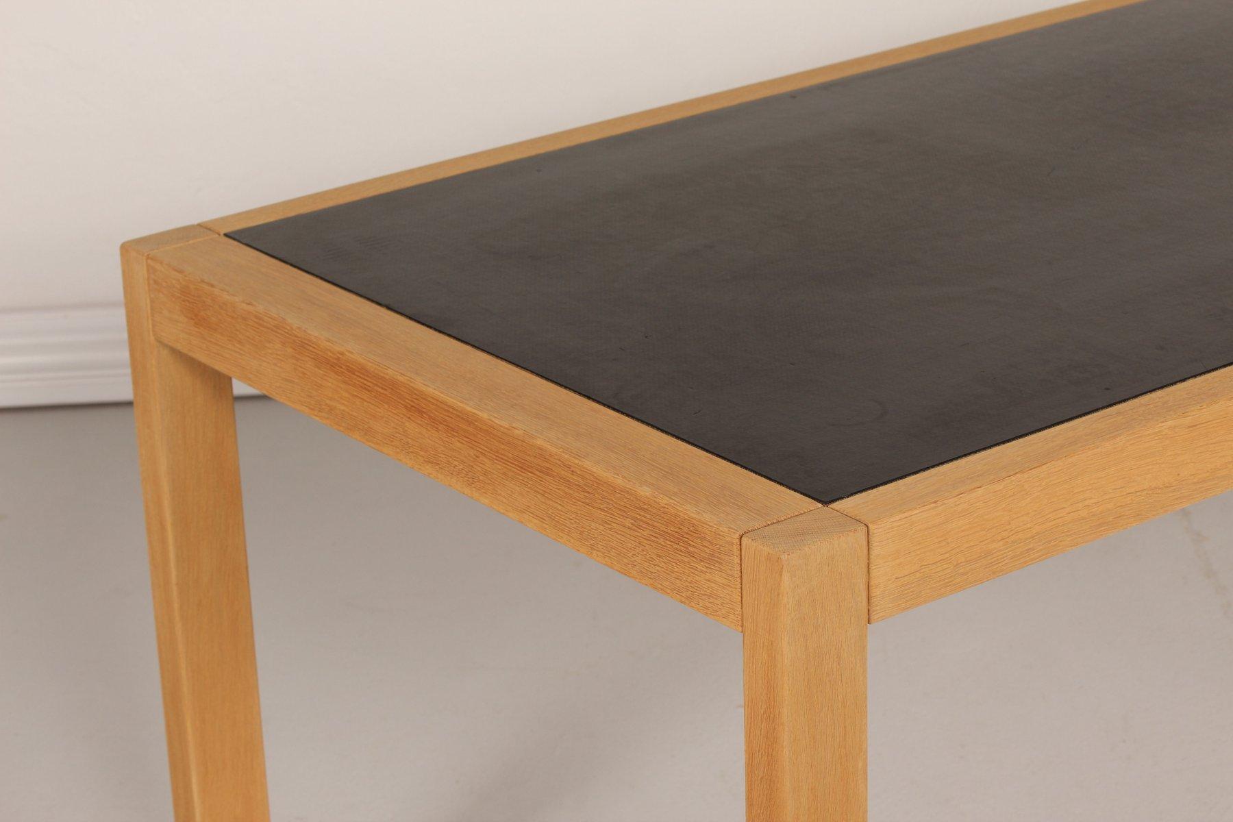 danish oak working table with black linoleum top 1970s for sale at pamono. Black Bedroom Furniture Sets. Home Design Ideas