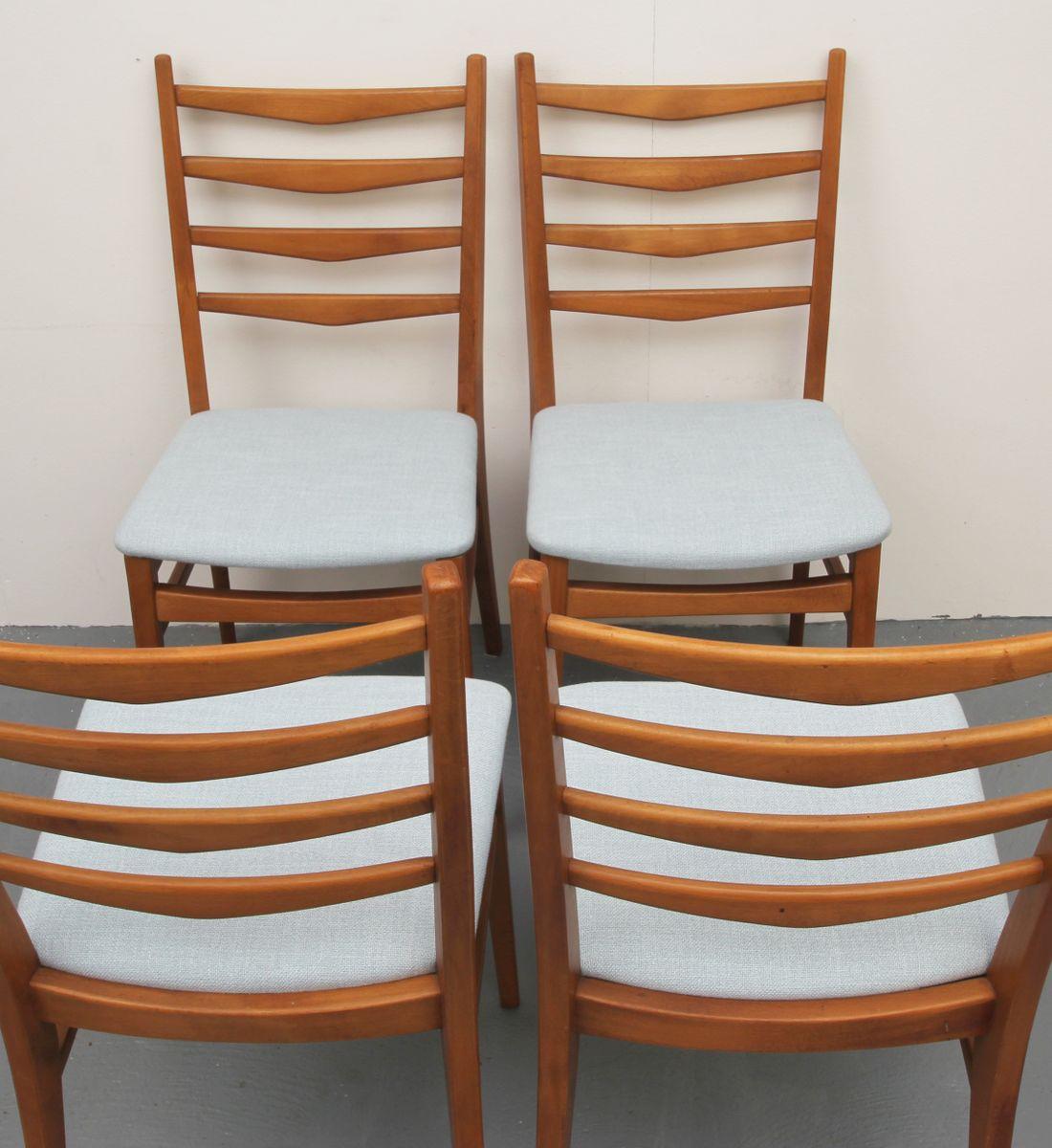 deutsche st hle mit hellblauem bezug 1950er 4er set bei pamono kaufen. Black Bedroom Furniture Sets. Home Design Ideas
