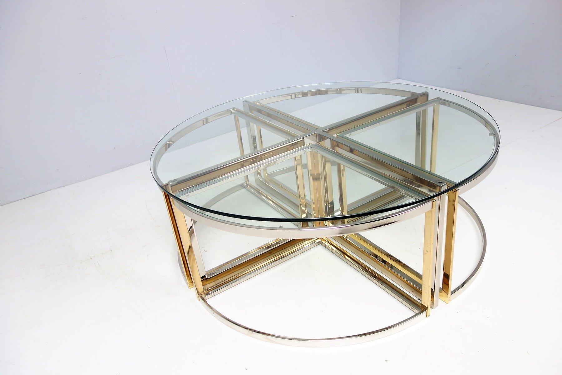 runder glas stahl messing tisch von maison charles 1970er bei pamono kaufen. Black Bedroom Furniture Sets. Home Design Ideas
