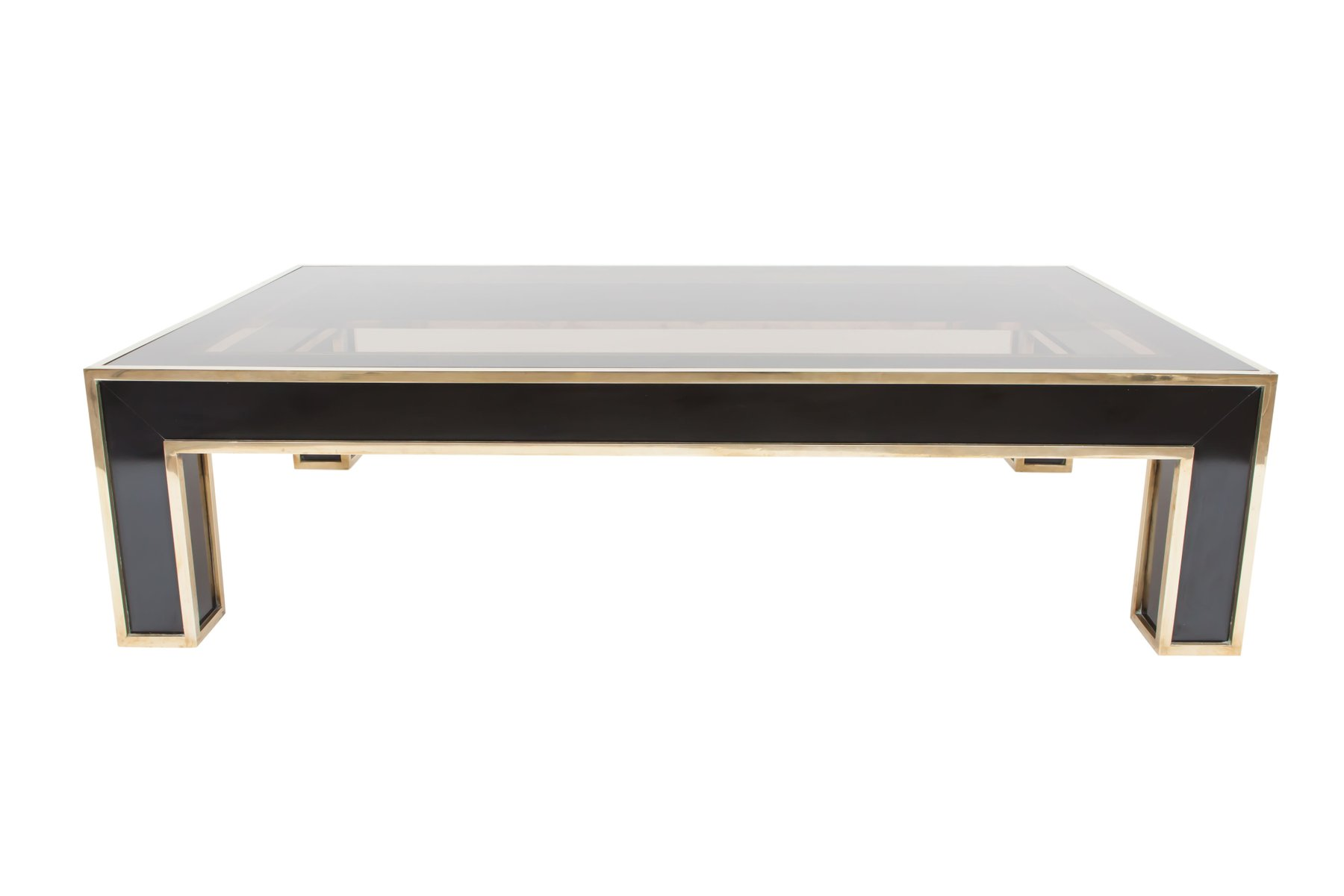 Rectangular Black Laminate & Brass Coffee Table by Romeo Rega