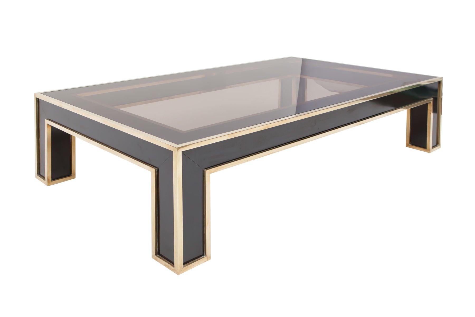 Rectangular Black Laminate & Brass Coffee Table by Romeo Rega