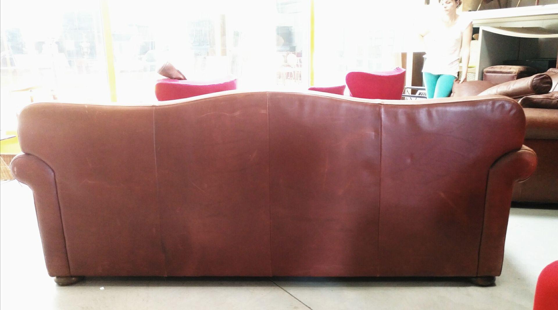 Canap en cuir marron italie 1970s en vente sur pamono for Rembourrage canape cuir
