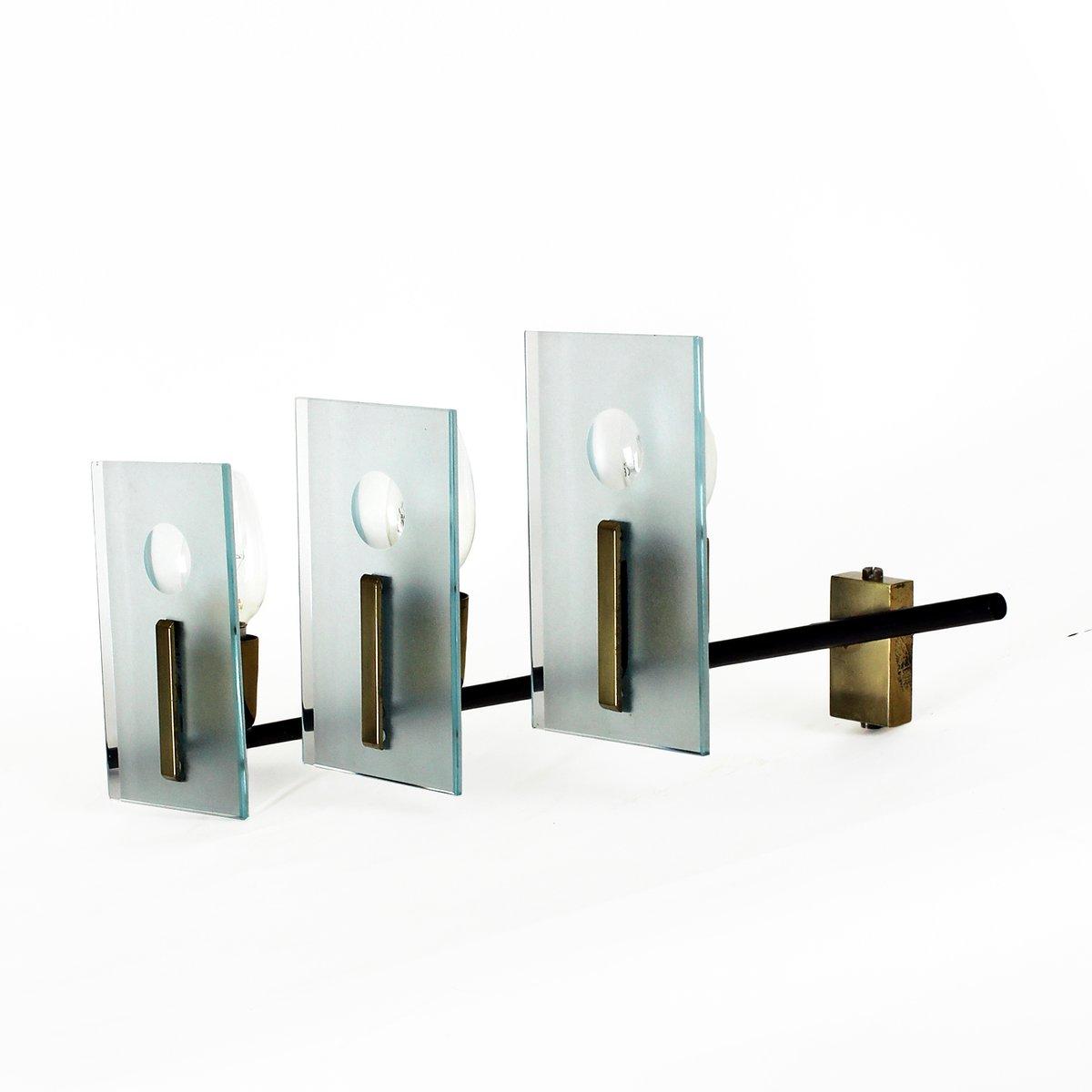 italienische wandleuchte aus glas stahl und messing 1950er bei pamono kaufen. Black Bedroom Furniture Sets. Home Design Ideas