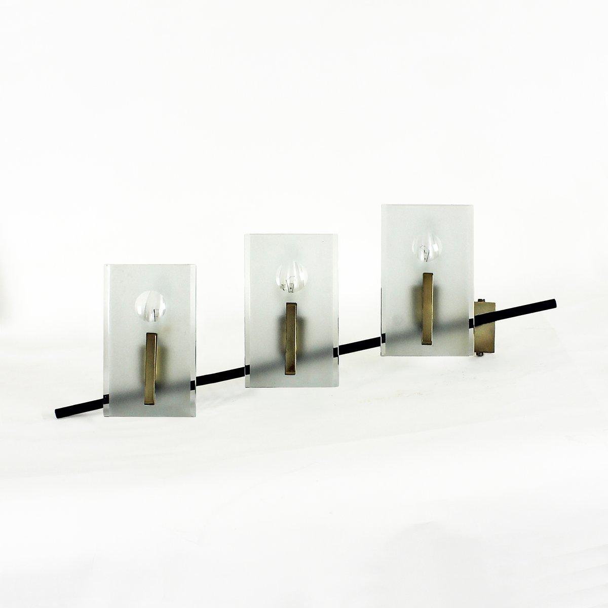 italienische wandleuchte aus glas stahl und messing. Black Bedroom Furniture Sets. Home Design Ideas