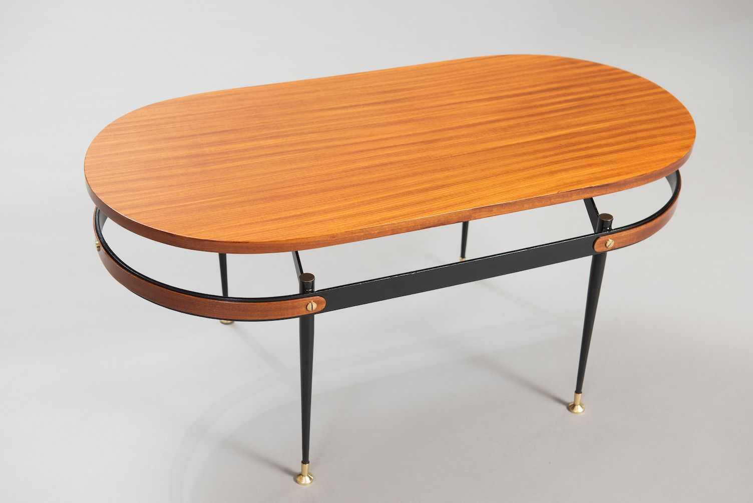 Table basse mid century en teck et m tal italie en vente for Table basse teck et metal