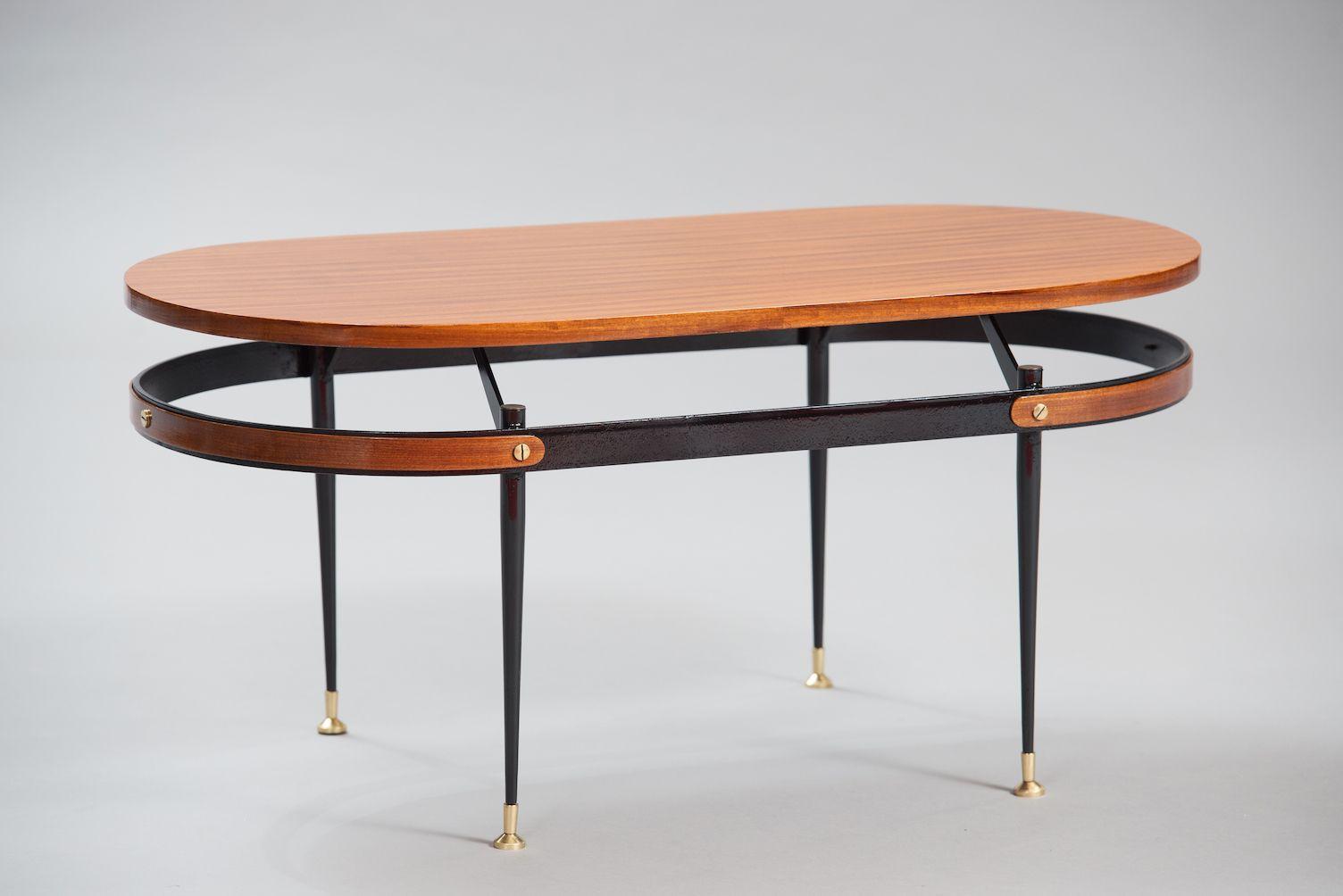 Mid Century Italian Teak Metal Coffee Table For Sale At Pamono