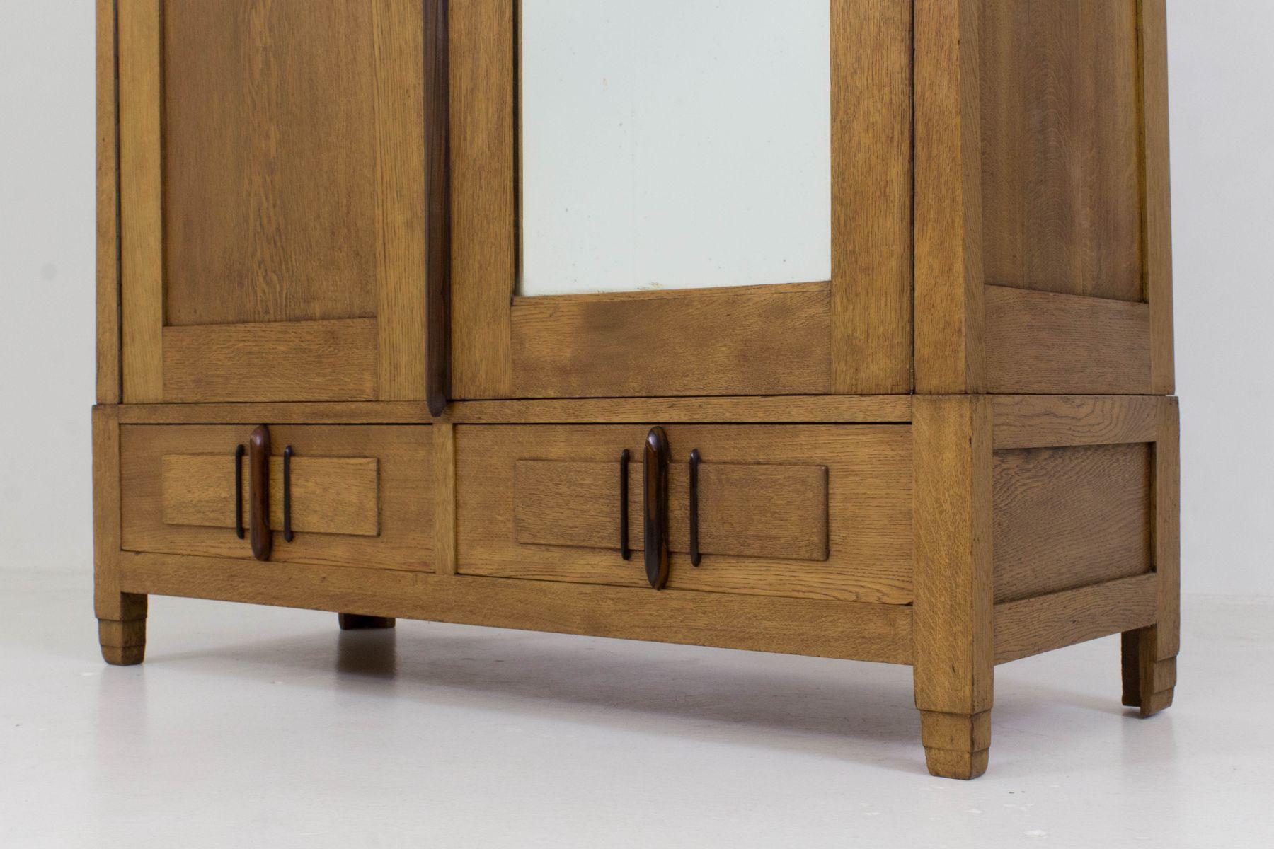 art deco amsterdam school armoire by j j zijfers 1920s. Black Bedroom Furniture Sets. Home Design Ideas