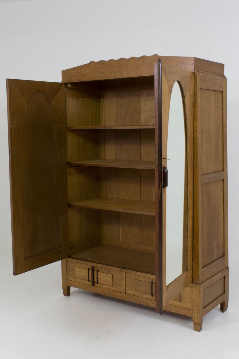 art deco amsterdam school armoire by j j zijfers 1920s for sale at pamono. Black Bedroom Furniture Sets. Home Design Ideas