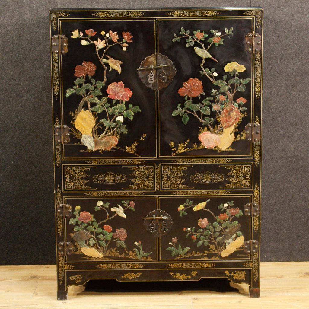 Vintage French Lacquered And Painted Chinoiserie Cupboard