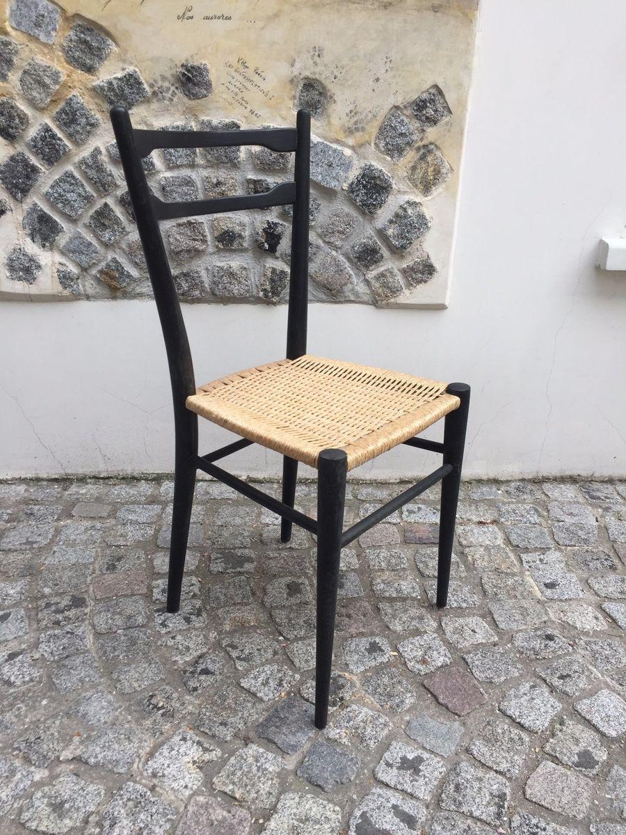 schwarz lackierte italienische mid century korbgeflecht st hle 4er set bei pamono kaufen. Black Bedroom Furniture Sets. Home Design Ideas
