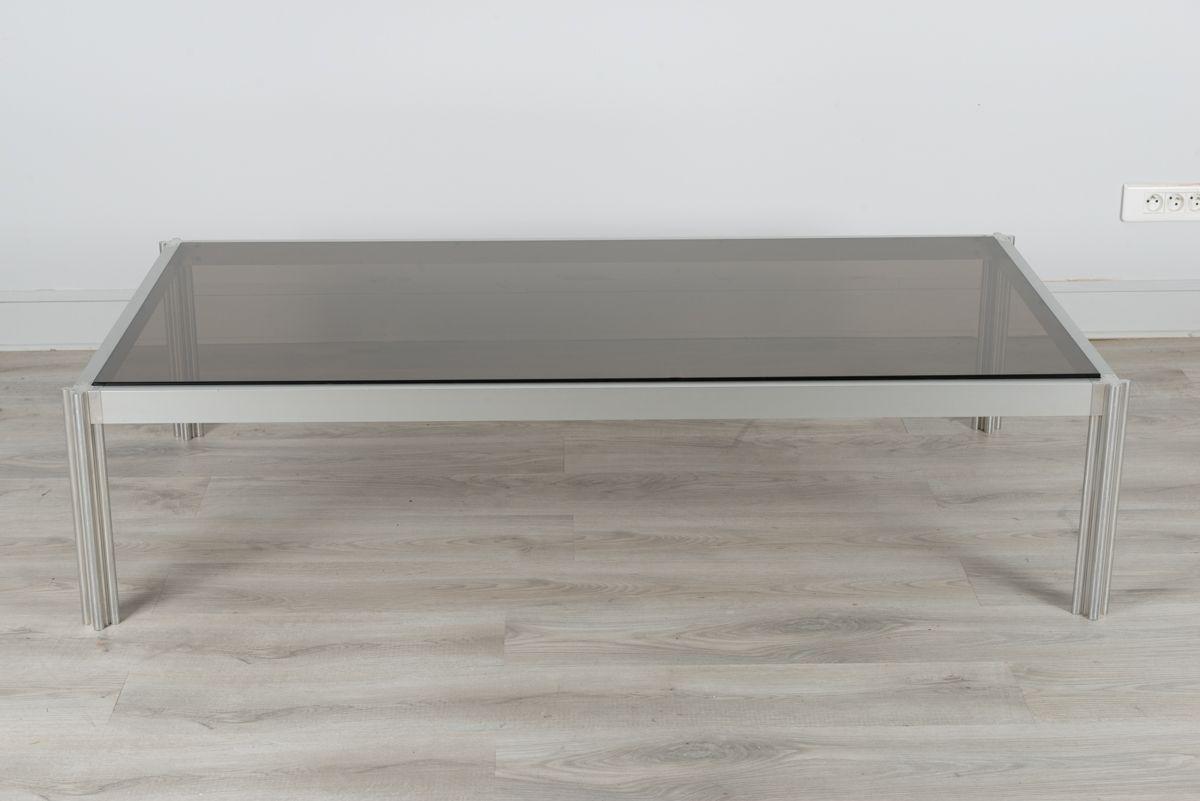 Vintage rectangular smoked glass coffee table by george for Antique rectangular glass coffee table design
