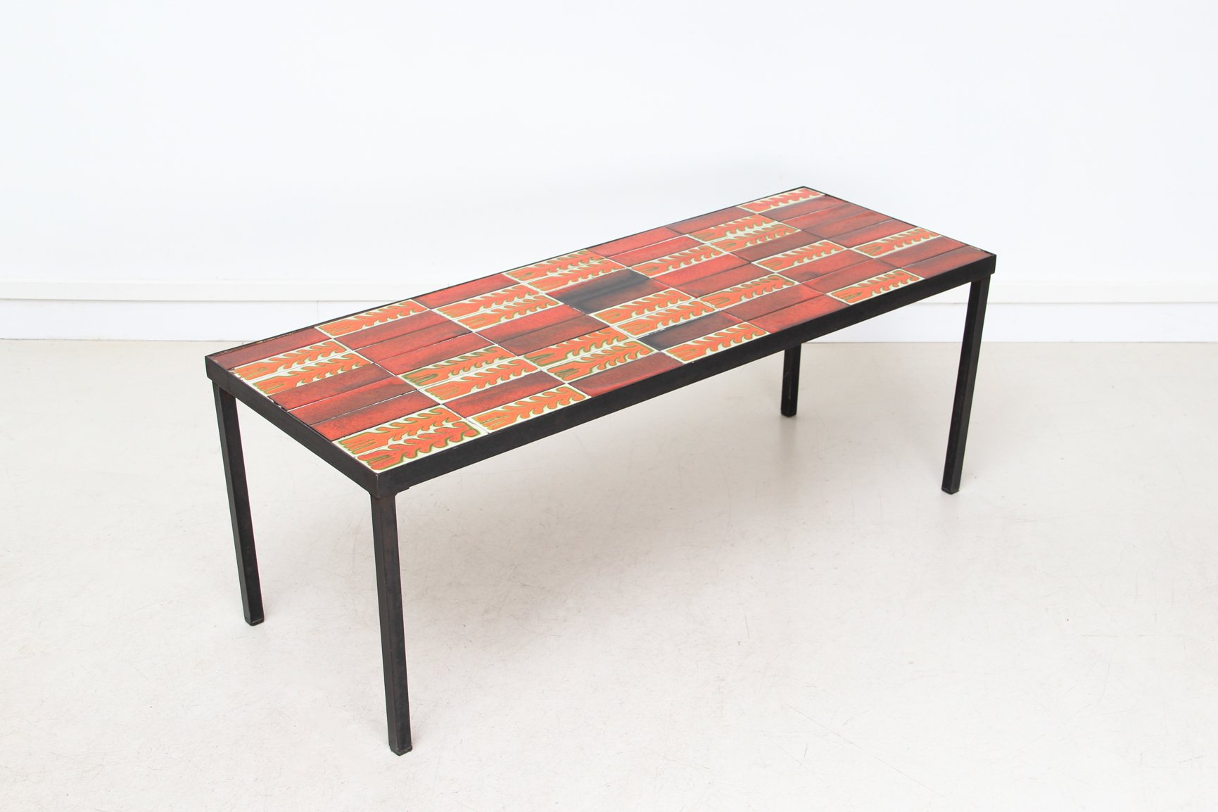 Mid Century Ceramic Tile Coffee Table by Roger Capron 1950s for