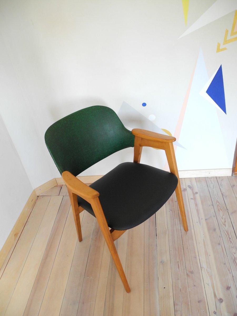 mid century stuhl in gr n schwarz mit abgeschr gten. Black Bedroom Furniture Sets. Home Design Ideas