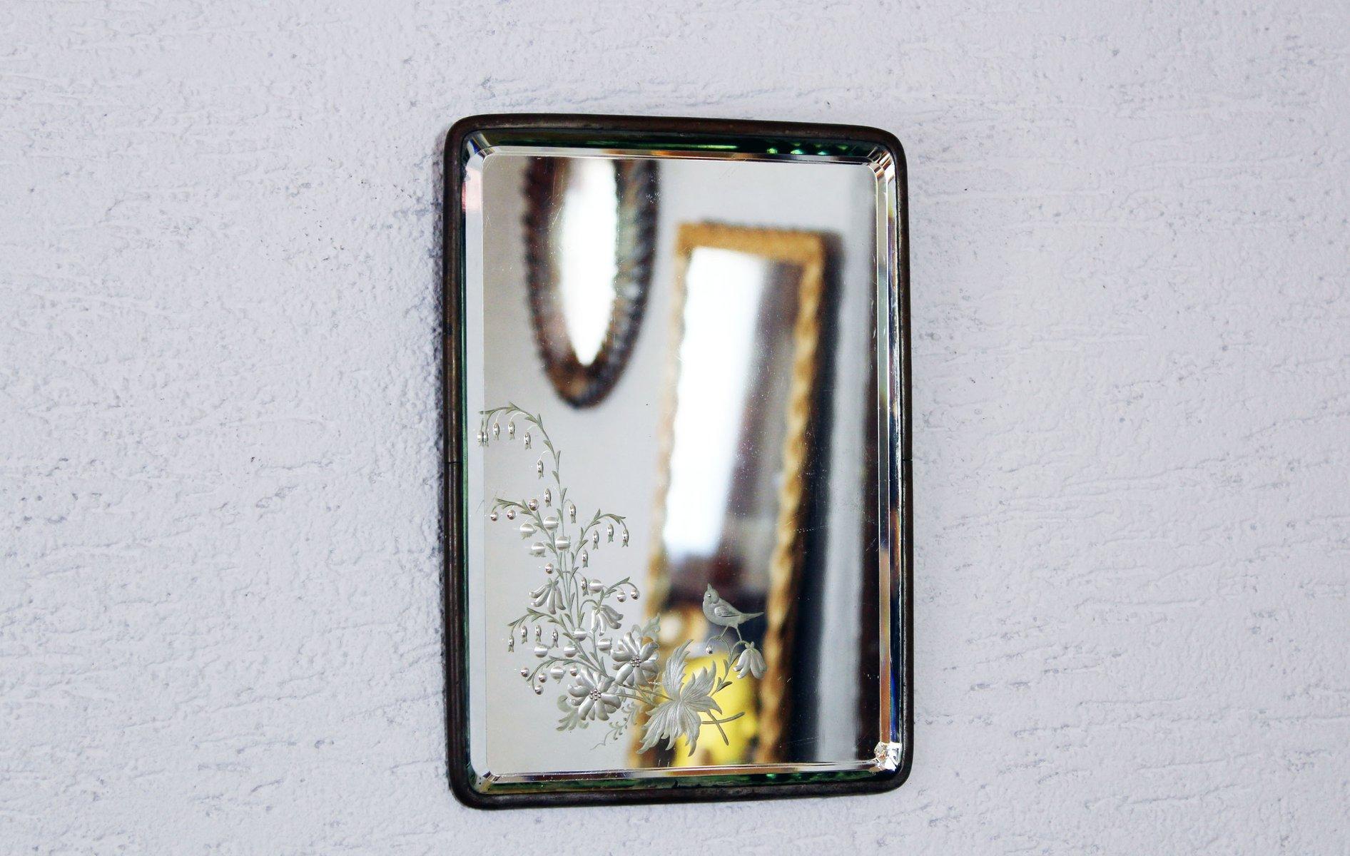 vintage barbier spiegel mit gravur 1920er bei pamono kaufen. Black Bedroom Furniture Sets. Home Design Ideas