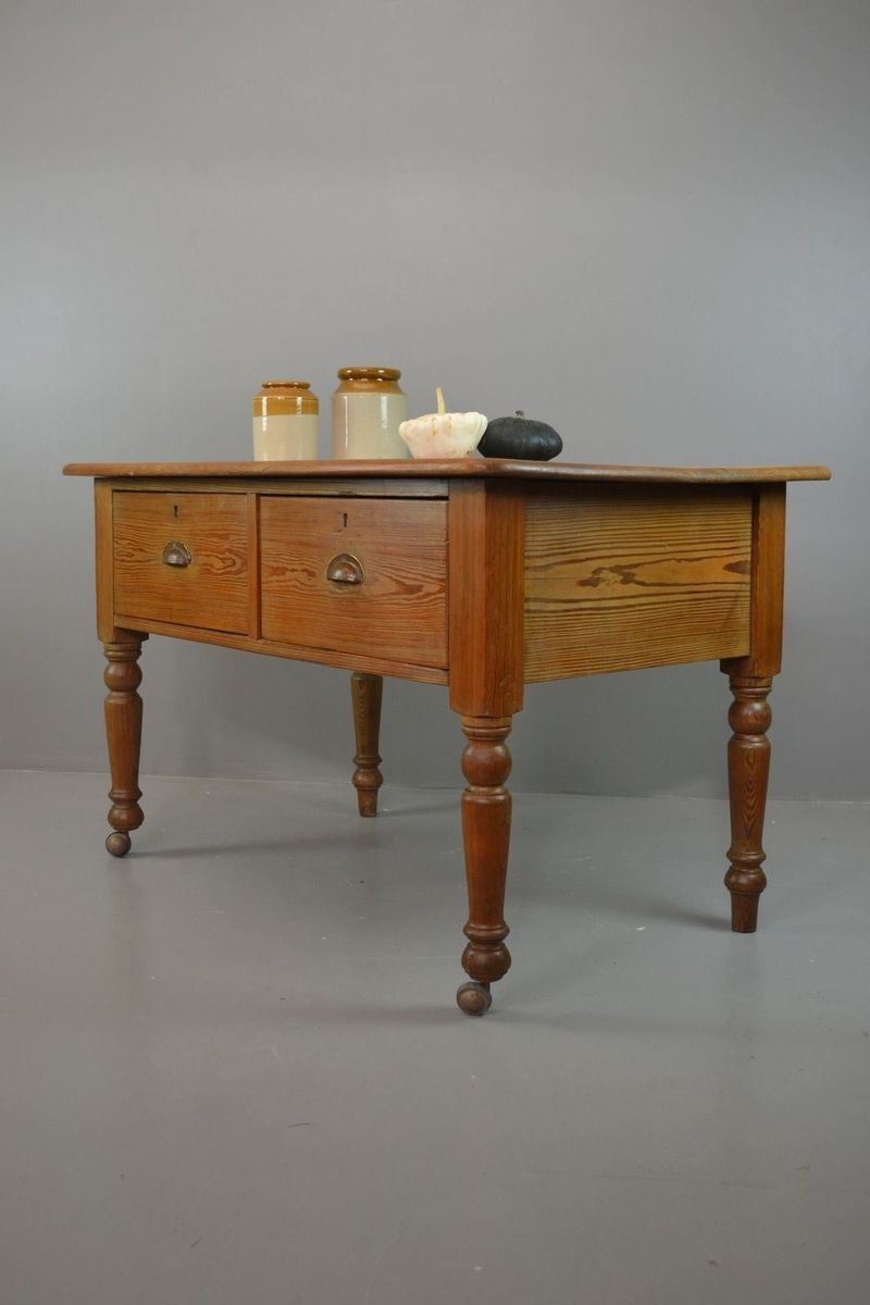 Antique Rustic Pine Kitchen Table for sale at Pamono