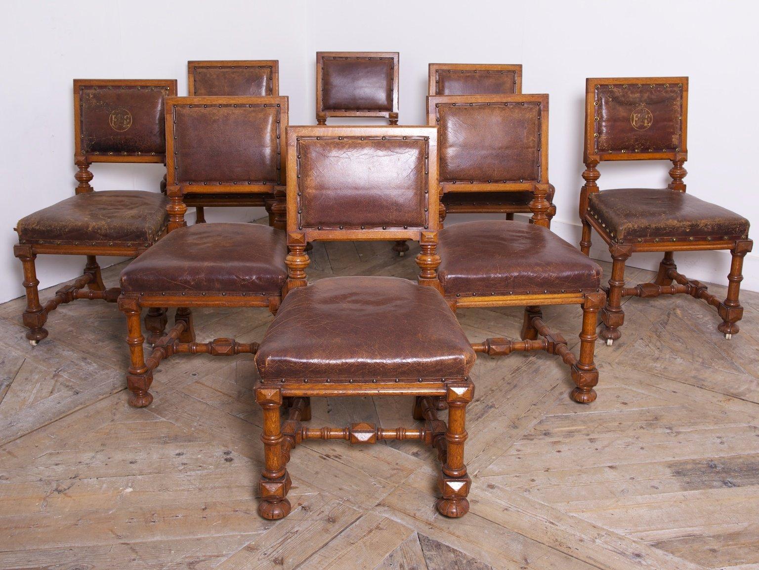 esszimmerst hle aus eiche 1870er 8er set bei pamono kaufen. Black Bedroom Furniture Sets. Home Design Ideas