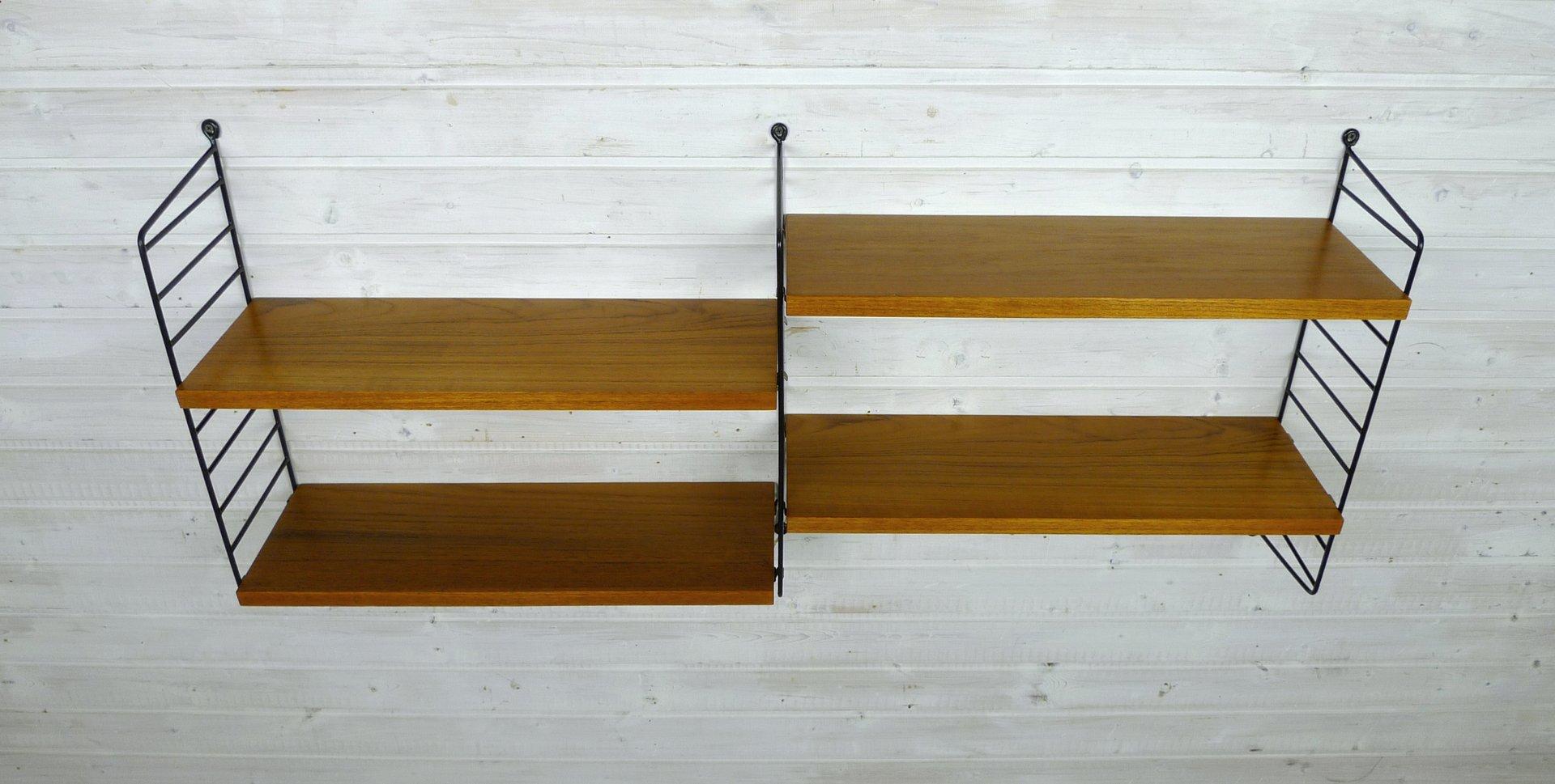 wand regalsystem mit vier teak b den von nisse strinning f r string design ab 1950er bei pamono. Black Bedroom Furniture Sets. Home Design Ideas