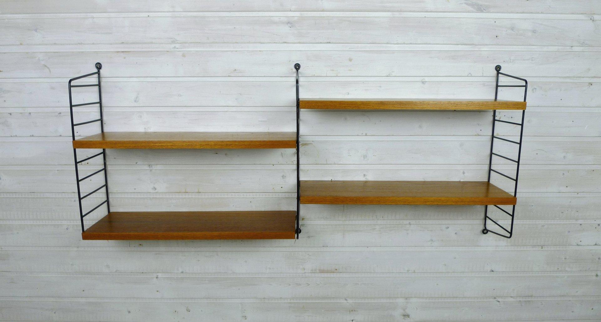wand regalsystem mit vier teak b den von nisse strinning. Black Bedroom Furniture Sets. Home Design Ideas