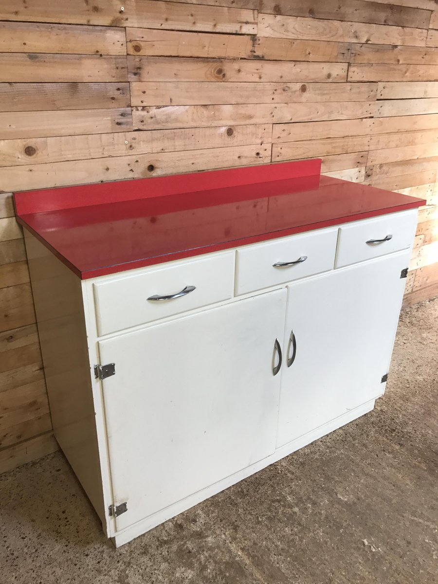 Kitchen cabinet with red melamine top 1950s for sale at for 1950 kitchen cabinets for sale