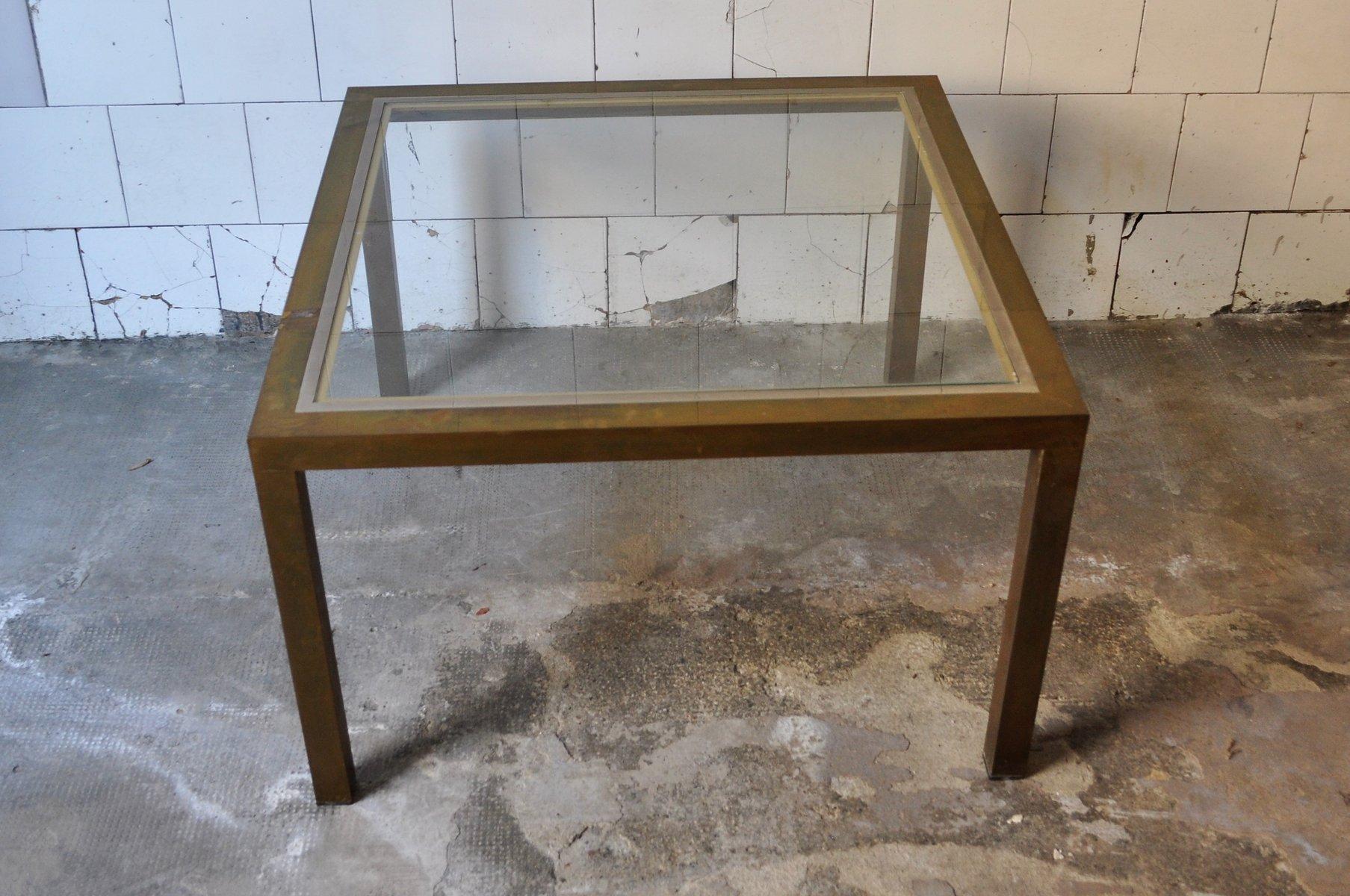 quadratischer couchtisch aus messing und glas 1970er bei. Black Bedroom Furniture Sets. Home Design Ideas