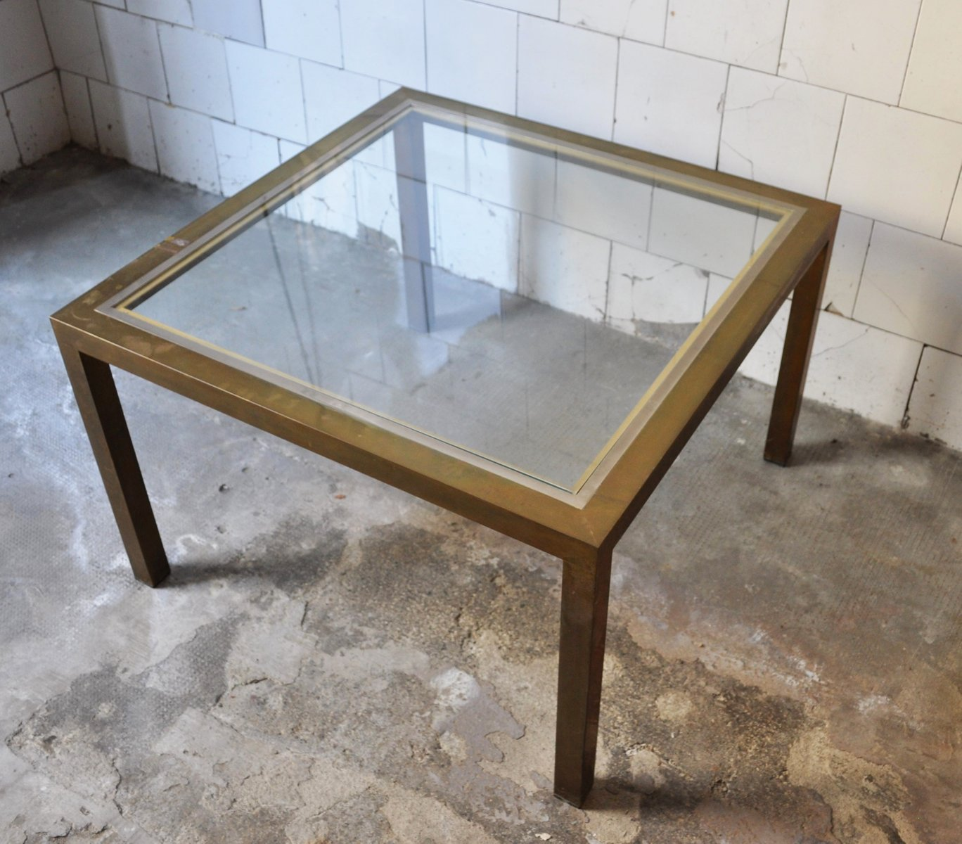 Square Coffee Table In Brass And Glass, 1970s For Sale At