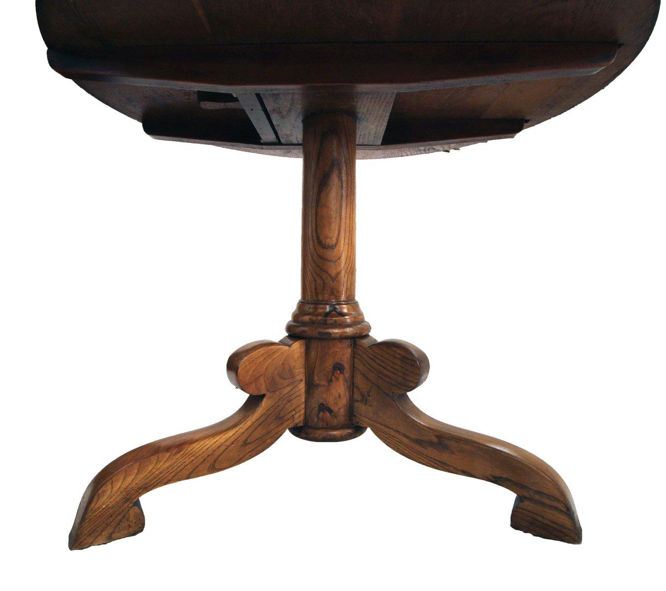 runder antiker tisch aus eiche und esche bei pamono kaufen. Black Bedroom Furniture Sets. Home Design Ideas