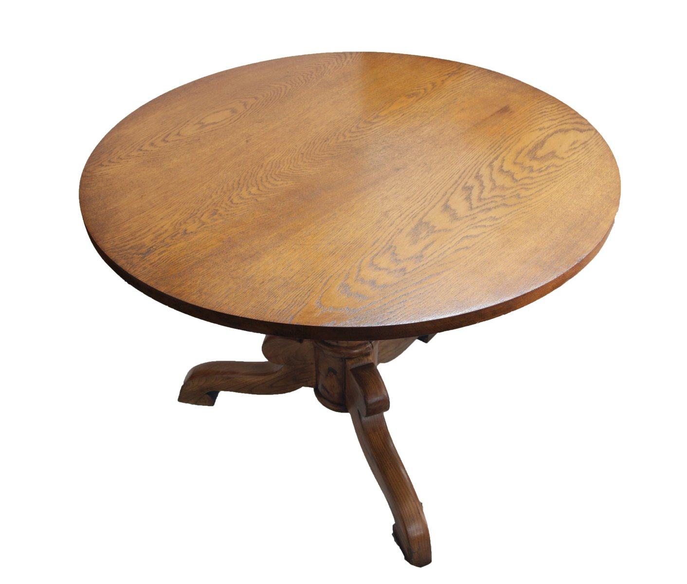 Antique Oak & Ash Round Table for sale at Pamono