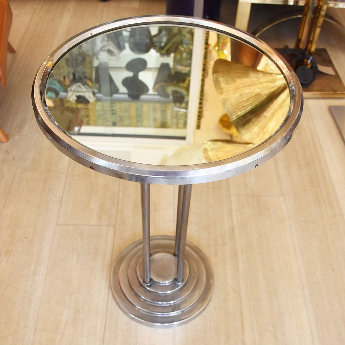 Vintage Mirrored Top Side Table By Wolfgang Hoffmann