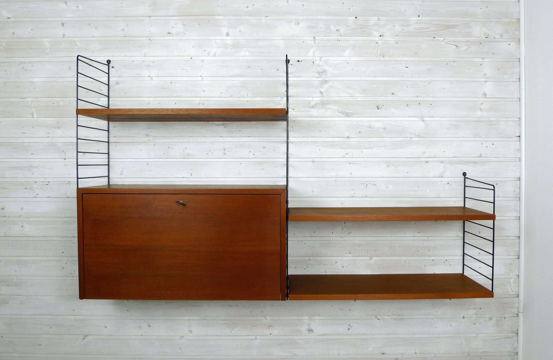 Teak Wall Unit with Cabinet by Nisse Strinning for String, 1950s ...