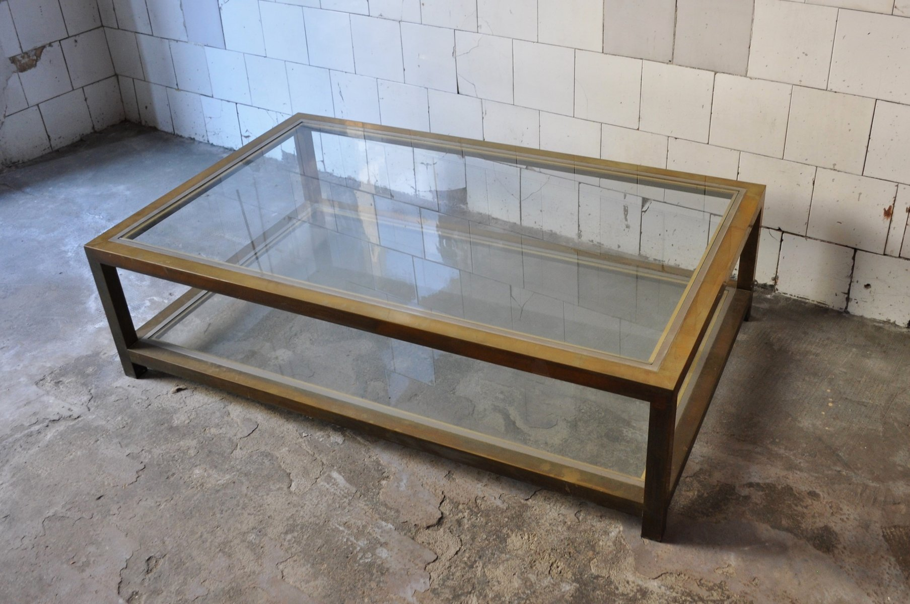 rectangular coffee table in brass and glass 1970s for