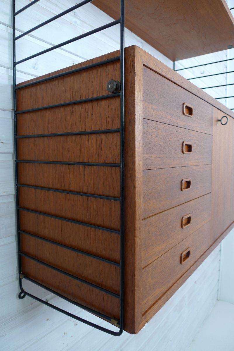swedish teak wall unit by nisse strinning for string 1950s for sale at pamono. Black Bedroom Furniture Sets. Home Design Ideas