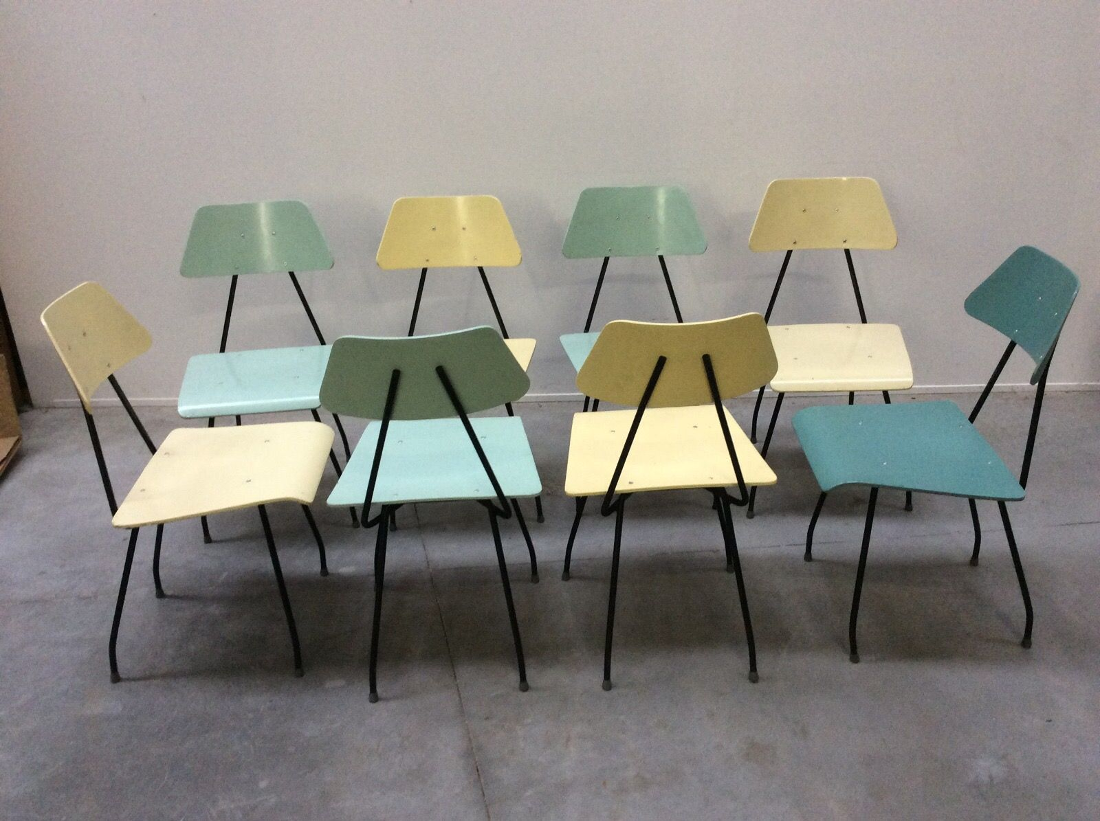 Exceptional Mid Century Dutch Multi Colored Chairs By Rob Parry For Dico, Set Of 4