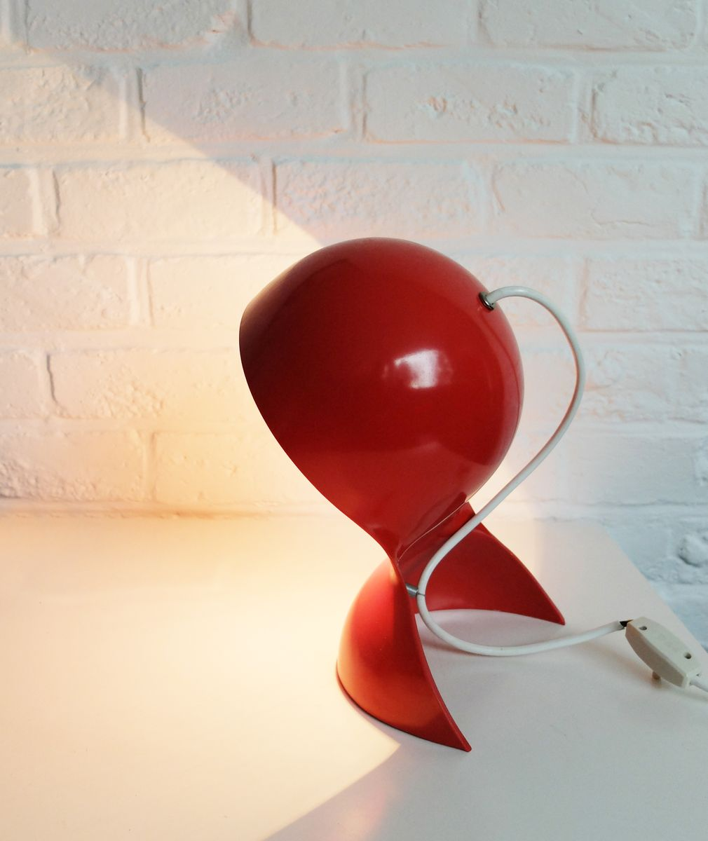 lampe de bureau dalu rouge par vico magistretti pour artemide 1960s en vente sur pamono. Black Bedroom Furniture Sets. Home Design Ideas