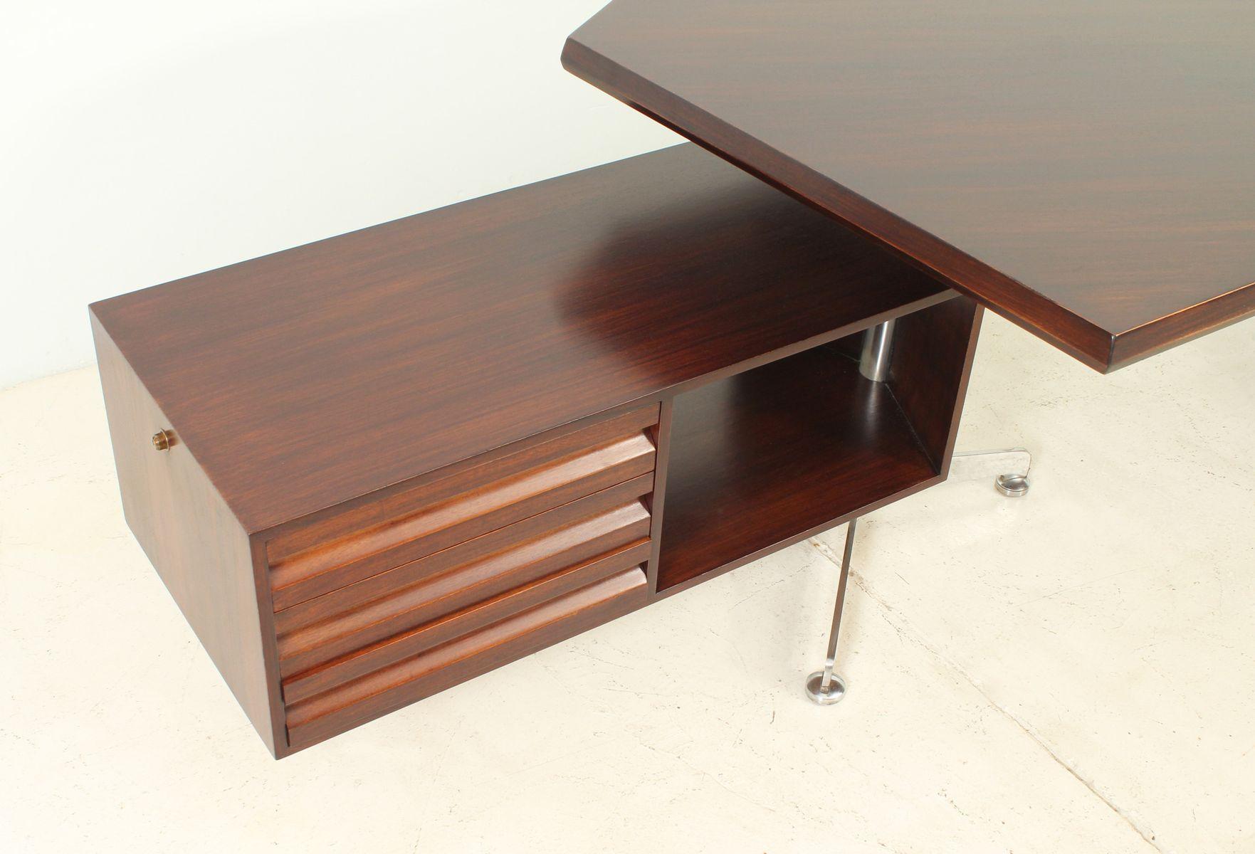 palisander boomerang schreibtisch von osvaldo borsani f r. Black Bedroom Furniture Sets. Home Design Ideas