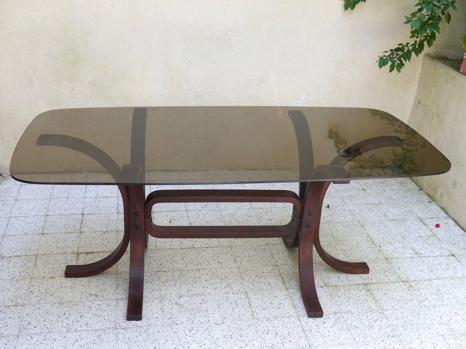 vintage tisch aus glas geschwungenem holz bei pamono kaufen. Black Bedroom Furniture Sets. Home Design Ideas