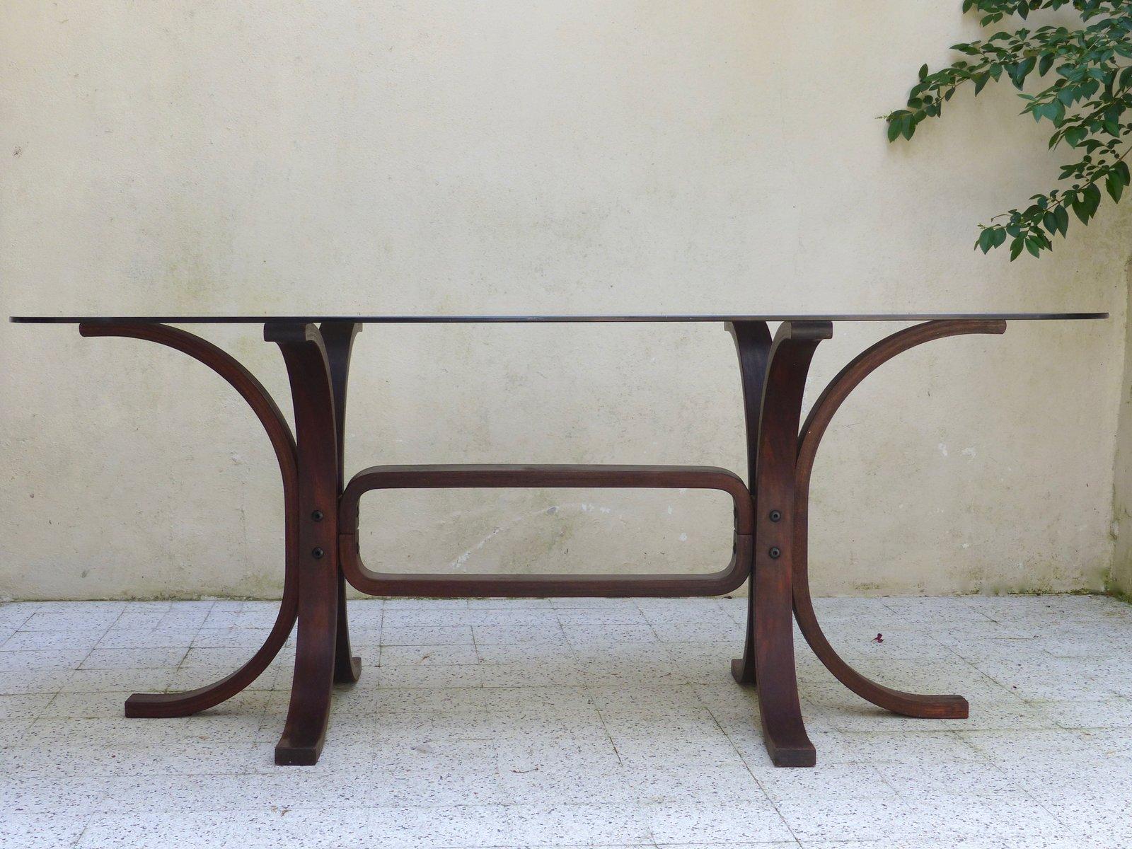 Tavolo vintage in vetro e legno curvo in vendita su Pamono