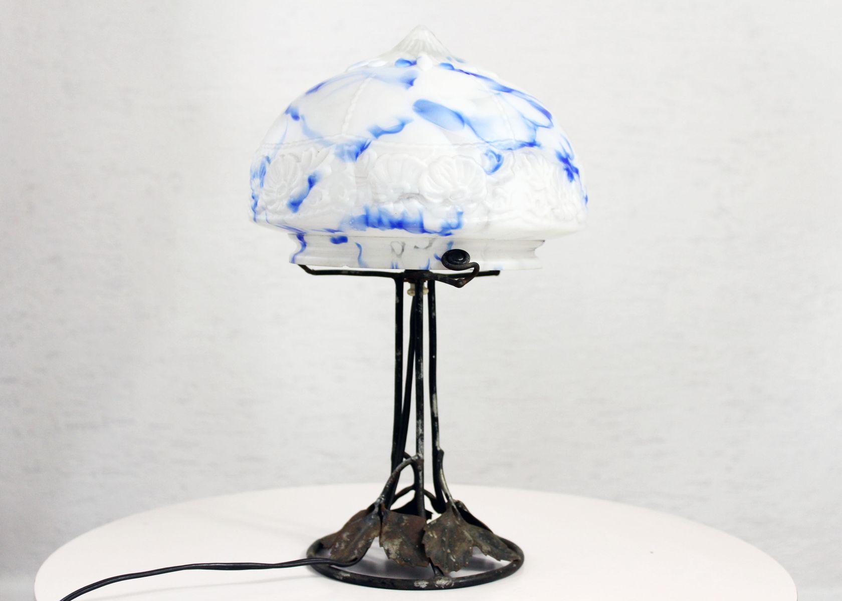 Vintage glass table lamps - Vintage Art Nouveau Pressed Glass Table Lamp 1930s
